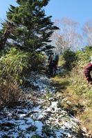 30登山口に新雪